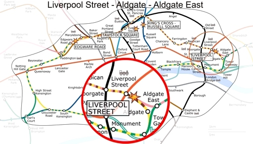 liverpool street - aldgate - aldgate east map
