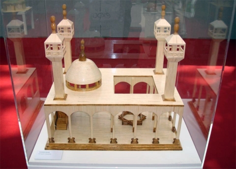 Picture shows a meticulous Andalucian mosque made of matchsticks which took Hussain al-Samamra months to build, as exhibited at CAPTIVATED: The Art of the Interned